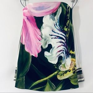 """Peter Pilotto """"Elettra"""" Printed Stretch-Silk Floral Strapless Corset Top, Size 2"""